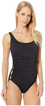 Scoop Neck Ruched One-Piece (Black) Women's Swimsuits One Piece