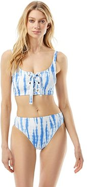 Tie-Dye Daydream Lace-Up Bralette with Grommet Detail and Removable Soft Cups (Crew Blue) Women's Swimwear