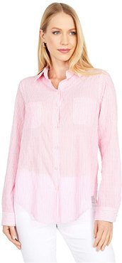 Sea View Button-Down (Prosecco Pink Lightweight Oxford Stripe) Women's Clothing