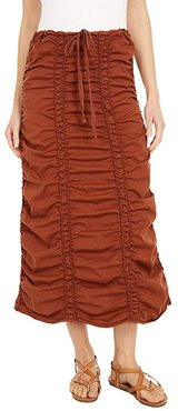Stretch Poplin Double Shirred Panel Skirt (Nutmeg) Women's Skirt