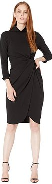 Stretch Crepe Mock Neck Dress with Side Wrap and Cinched Sleeve Detail (Black) Women's Clothing