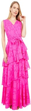 Surplus Clipped Chiffon Floral Tiered Gown (Shocking Pink) Women's Clothing
