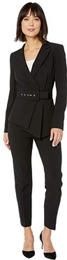 Belted Jacket and Pants Suit (Black) Women's Suits Sets
