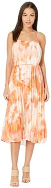 Portia Pleated Floral Midi Dress (Ivory/Coral) Women's Dress