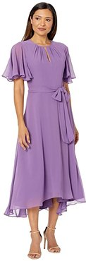 Solid Chiffon Midi Dress w/ Flutter Sleeve and Self Side Tie (Grape) Women's Dress
