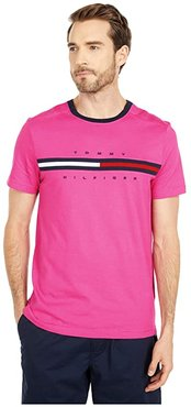 Signature Stripe Tommy T-Shirt (Raspberry Rose) Men's Clothing