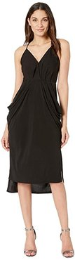 Drape Pocket Midi Dress (Black) Women's Dress
