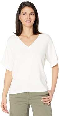 Wink V-Neck Sweater with Flutter Sleeve Detail (White) Women's Clothing