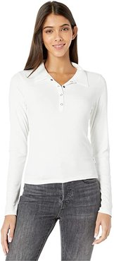 Capped Long Sleeve Polo (Off-White) Women's Clothing