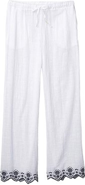 Rosemary Embroidery Wide Leg Pants Cover-Up (White) Women's Casual Pants