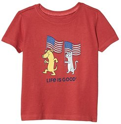 Dog and Cat Flags Crusher Tee (Toddler) (Faded Red) Kid's Clothing