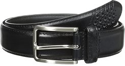 32mm Full Grain Leather Top w/ All Leather Lining Cross Stitch Perforated Tip (Black) Men's Belts