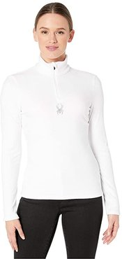 Shimmer Bug Zip T-Neck (White) Women's Sweater