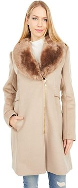 Wool Coat with Faux Fur Lapel Collar (Chinchilla) Women's Clothing