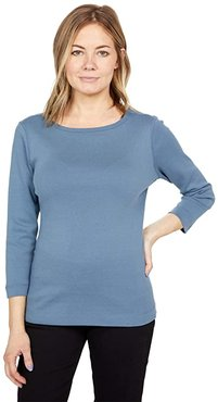 100% Cotton Heritage Knit 3/4 Sleeve British Tee (China Blue) Women's Long Sleeve Pullover