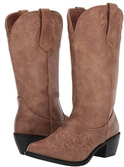 Scrollin (Tan Faux Leather Vamp) Cowboy Boots