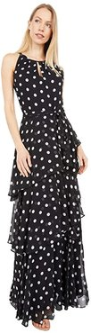 Sleeveless Polka Dot Chiffon Maxi with Tiered Skirt Detail (Black/White Dot Stripe) Women's Dress
