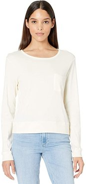 Long Sleeve Pocket Tee in Cotton Modal (Pristine) Women's Clothing