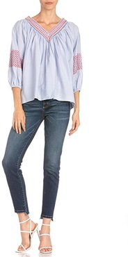 Embroidered V-Neck 3/4 Sleeve Blouse (Light Blue) Women's Clothing