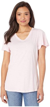 Short Flare Sleeve V-Neck Top (Pink) Women's Clothing