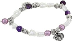 Wildflower Beaded Charm Stretch Bracelet (Silver) Bracelet