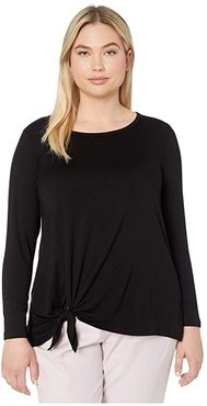 Plus Size Long Sleeve Tie-Front Top (Black) Women's Clothing