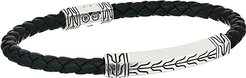 Classic Chain Silver Station Bracelet on 5 mm Braided Leather with Pusher Clasp (Black) Bracelet