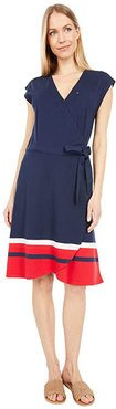Madison Wrap Dress with Snap and VELCRO(r) BRAND Closure (Core Navy/Multi) Women's Dress