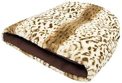 18 Bottom x 23 Depth x 25 Opening Snuggle Bed - Faux Fur/Cotton Canvas (Leopard Brown) Dog Accessories