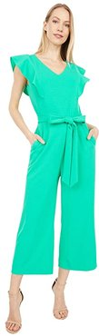 Stretch Crepe Ruffle Shoulder Cropped Leg Jumpsuit (Dynasty Green) Women's Jumpsuit & Rompers One Piece
