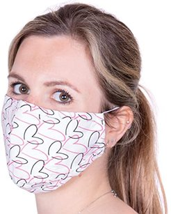 Face Mask (Hearts White) Scarves