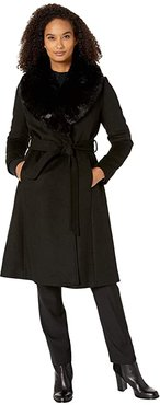 Wool Wrap with Faux Fur (Black) Women's Clothing