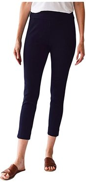 Pull-On Pocket Microfiber Ankle Pants (Navy) Women's Casual Pants