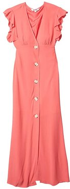 That's Amore Textured Crepe Button Front Midi Dress (Bright Rose) Women's Dress