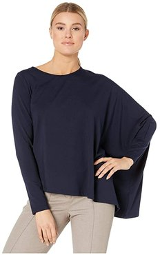 Asymmetric Cape Top (Navy) Women's Clothing
