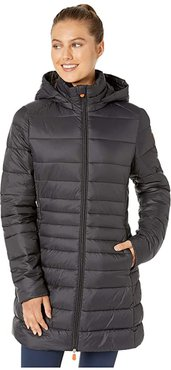 Giga 9 Puffer Coat with Removable Hoodie (Black) Women's Clothing