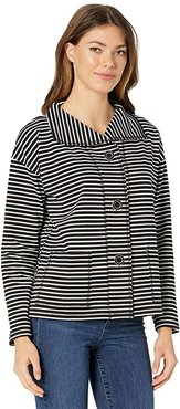 Get In Line Knit Jacket with Raw Edge Seaming (Black/White) Women's Clothing