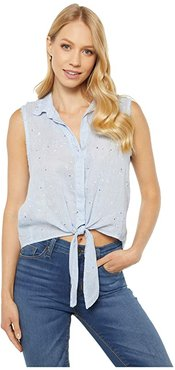 Tie Front Sleeveless Button-Down Shirt (Skyway) Women's Clothing