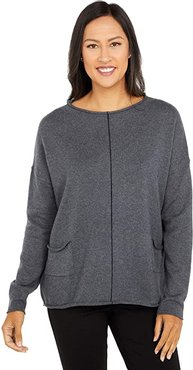 Cotton Cashmere Sweater with Center Contrast Stripe Detail (Flannel) Women's Sweater