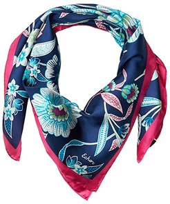 Tropical Floral Silk Square (Navy) Scarves