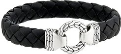 Classic Chain 12mm Ring Clasp Bracelet in Black Leather (Silver) Bracelet