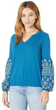 Bishop Sleeve Shirt with Puff Print Detail 48T7688 (Teal) Women's Clothing