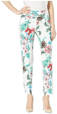 Pull-On Ankle Pants (White Flowers) Women's Dress Pants