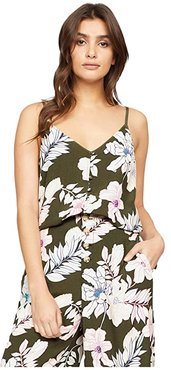 Essential Button Front Tank (Tropic Punch) Women's Clothing