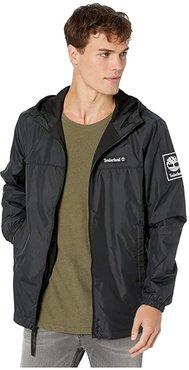 Windbreaker Full Zip Jacket (Black) Men's Clothing