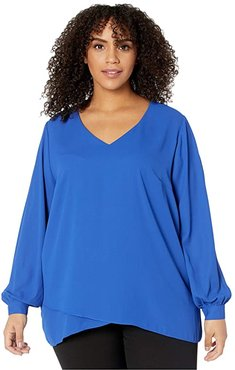 Plus Size Split Back Crossover Top (Royal) Women's Clothing