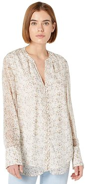 Ana Covered Button Blouse (Romance Print) Women's Clothing