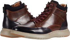 Flair Moc Toe Lace-Up Boot (Brown Pull Up/Black Leather/Gray Sole) Men's Shoes