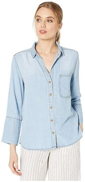 Shirt Tail Button Down Shirt in Tencera (Light Vintage Wash) Women's Clothing