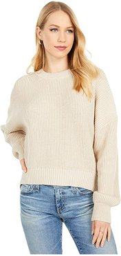 Richie Boxy Crew Neck Pullover Sweater (Stucco) Women's Clothing
